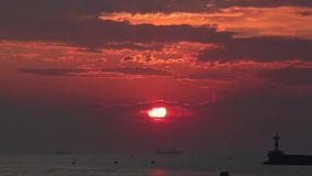 Sunset on the sea. HD stock video footage