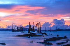 Sunset on the sea. Holidays,nature,landscape,suset on andaman sea krabi thailand stock images