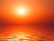 Sunset sea horizon background. Vibrant sunset on the sea with waves on the water surface, sun and orange red  sky. All this makes a specific nature pattern Stock Photography