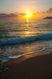 Sunset on the sea horizon,  evening wave. Travel Stock Image