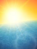 Sunset at sea, horizon with summer sun Stock Image
