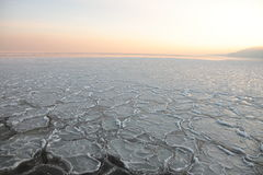 Sunset on the sea - ice - floe. Poland, Gdynia Stock Image