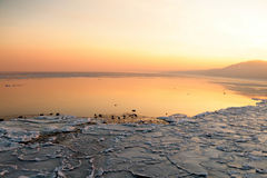Sunset on the sea - ice - floe. Poland, Gdynia Royalty Free Stock Photos