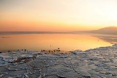 Sunset on the sea - ice - floe. Poland, Gdynia Royalty Free Stock Photos
