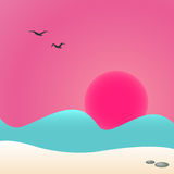 Sunset at sea, vector illustration. Sunset on the beach, seascape, vector illustration Stock Photos
