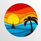 Sunset in the sea illustration Stock Photography