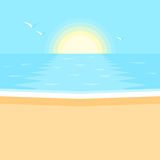 Sunset. Sea landscape. Sunset in the ocean. Sea, clean sandy beach landscape. Vector illustration in flat design style Stock Photography