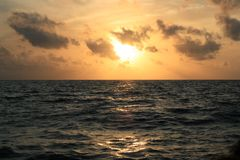 Sunset on the sea. In the Maldives Stock Image