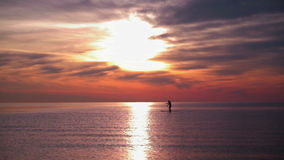Sunset sea. Man rowing on surfboard at sunset. Sea sunset with calm water stock video footage