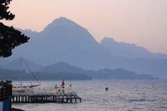 Sunset at sea. Mediterranean coast in Turkey Stock Images