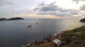 Sunset on the sea at Naiharn beach, Phuket. Gopro timelapse stock video footage