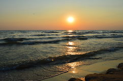 Sunset, sea, ocean, beach. Evening sunset on the sea Royalty Free Stock Images