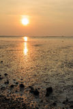Sunset at the sea with orange, yellow, red and pink sky Royalty Free Stock Photography