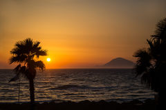 Sunset at the sea Stock Image