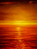 Sunset on the sea, painting Royalty Free Stock Photography