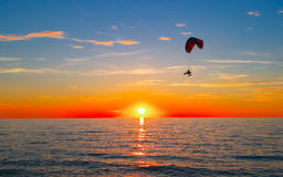 Sunset at sea and paraglider Stock Image