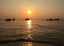 Sunset on the sea in Phu Quoc, Vietnam Royalty Free Stock Photography