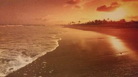 Sunset on the sea. Painting of a sunset over the sea Royalty Free Stock Photography