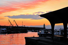 Sunset at sea port of Camogli. Nnassignment files stock image