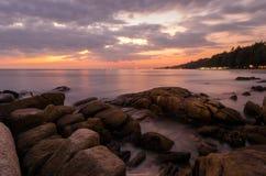 Sunset sea. At Rayong, Thailand stock photo