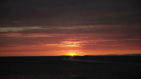 Sunset at the sea. Red sky from the sunset at the sea stock video footage