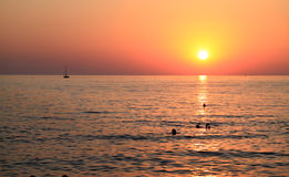 Sunset on the sea. Relax on the beach during sunset Royalty Free Stock Photography