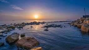 Sunset Sea Rock Stone View Photo royalty free stock images
