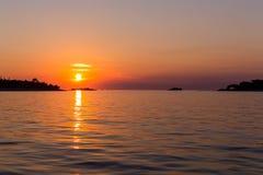 Sunset at sea in Rovinj Royalty Free Stock Photo