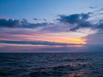 Sunset in the Sea. Samutprakarn, Thailand Stock Images