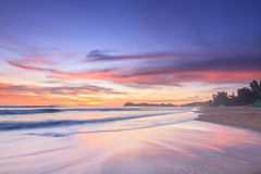 Sunset Sea Sand and Wave Royalty Free Stock Image