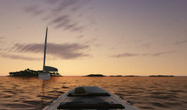Sunset sea scene with boats. 3D illustration Royalty Free Stock Image