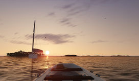 Sunset sea scene with boats. 3D illustration Royalty Free Stock Photo