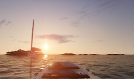 Sunset sea scene with boats. 3D illustration Stock Photo