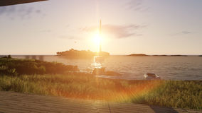 Sunset sea scene with boats. 3D illustration Royalty Free Stock Images