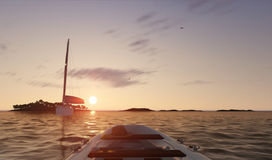 Sunset sea scene with boats. 3D illustration Royalty Free Stock Photos