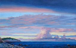 Sunset sea scenery. (hand oil painting Stock Image