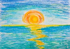 Sunset on the sea with seagulls. Drawing with crayons Royalty Free Stock Photo