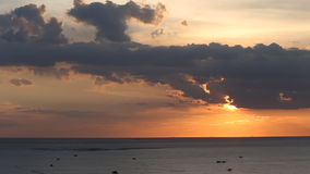 Sunset at sea and shell farm stock video