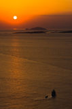 Sunset at sea, with small greek islands in background, Sithonia Stock Images