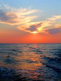 Sunset on the sea with solar path Stock Photography