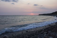 Sunset on the sea in summer royalty free stock image