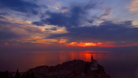 Sunset on sea in summer time stock video footage