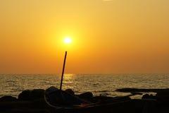 Sunset. Sea sun boat background landscape stock photos