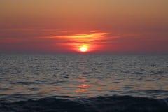Sunset sea. Sundowner over water horizon in a beautiful evening Royalty Free Stock Photo