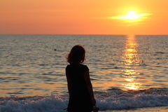 Sunset sea. Sundowner over water horizon in a beautiful evening Stock Photo