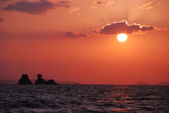 Sunset at the sea. Of Thailand stock photo