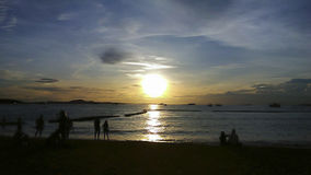 Sunset Sea at Thailand. In Pattaya city Stock Image