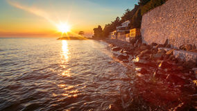 Sunset at the sea, Trieste Royalty Free Stock Photo