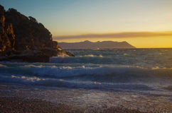 Sunset at sea. Sunset at the sea on Turkey beach Royalty Free Stock Image