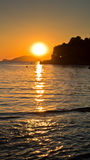 Sunset at sea with Turtle island in background,Sithonia Royalty Free Stock Photo